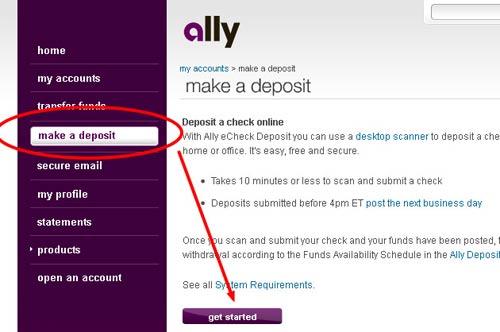 ally bank echeck deposit