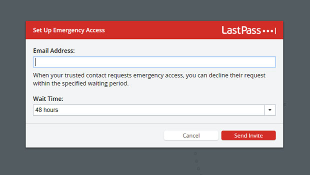 LastPass emergency contact - Password software